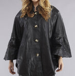 WOMEN'S STYLISH LEATHER CAPE JACKET