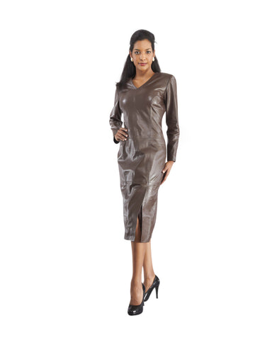 UNIQUE LONG SLEEVE LEATHER DRESS FOR WOMEN