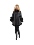 Women Long Sleeve Outwear FOX Fur Coat Jacket
