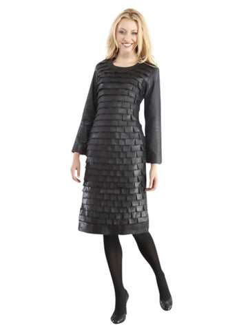 ALL-SEASON ELEGANT WOMEN'S TIER LEATHER DRESS WITH PLEAT DESIGN