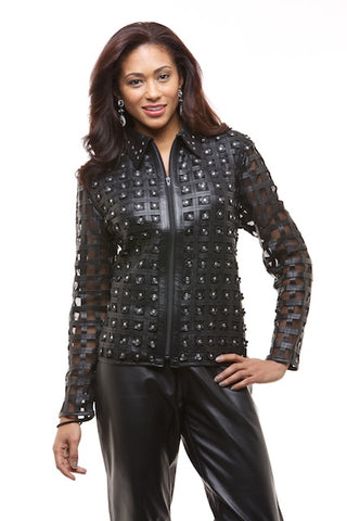 WOMEN'S ELEGANT LACE LEATHER JACKET WITH RHINESTONES