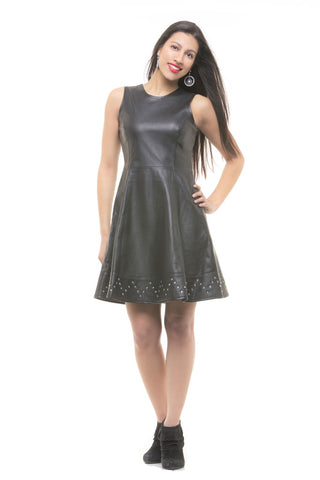 STYLISH ARMLESS LEATHER DRESS FOR WOMEN