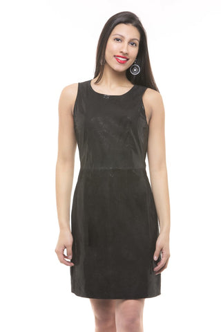 ELEGANT ARMLESS LEATHER DRESS FOR WOMEN