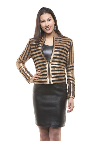 SUPER STRIPED LEATHER JACKET FOR WOMEN