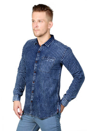 Styrrior 2106 - Indigo Denim Small Checks Washed Full Sleeves Shirt