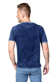 Styrrior 2108 - Indigo Denim Self Flower Design Washed Tshirt