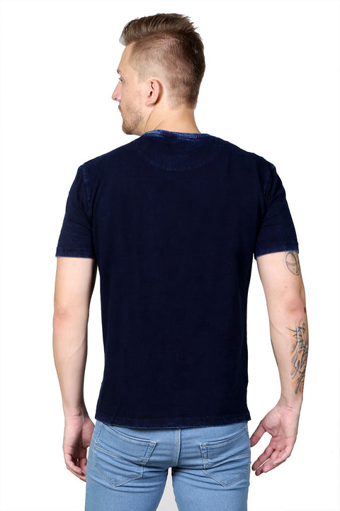 Styrrior 2110 - Indigo Denim Self Print Dark Blue Tshirt