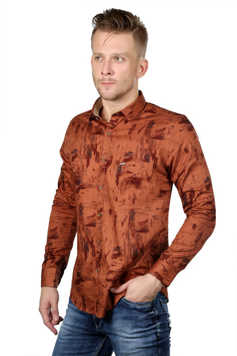 Styrrior 2113 - Regular Fit Abstract Printed Orange Cotton Shirt