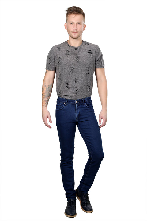Styrrior 2153 - Slim Narrow Fit Classic Basic Dark Blue Dobby Denim