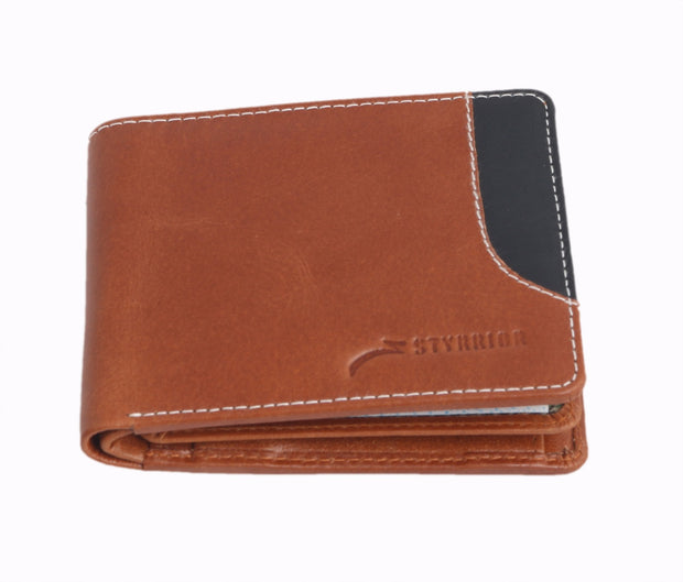 Styrrio 2247 - Tan & Black Leather Two Fold Wallet