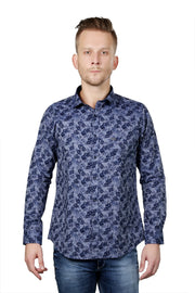 Styrrior 2116 - Regular Fit Printed Blue Cotton Shirt