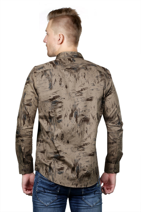 Styrrior 2118 - Regular Fit Abstract Printed Golden Brown Cotton Shirt