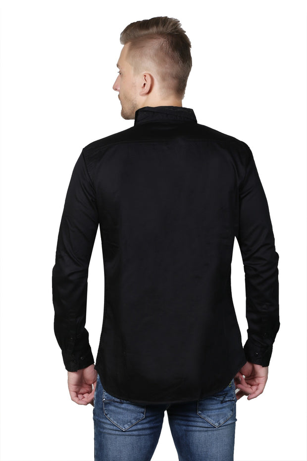 Styrrior 2120 - Slim Fit Plain Black Satin Cotton Shirt