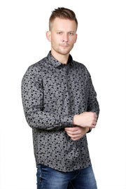 Styrrior 2121 - Regular Fit Printed Cotton Grey Black Shirt