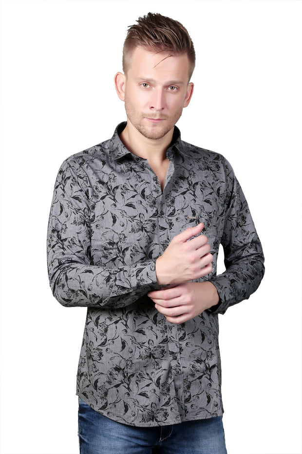 Styrrior 2123 - Regular Fit Leaf Printed Grey Black Shirt