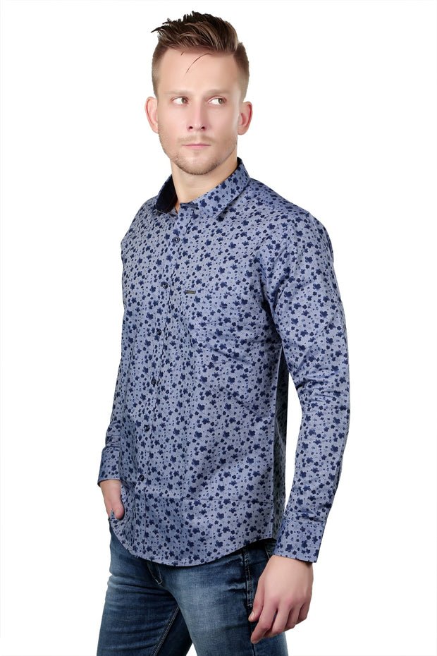 2124 - Regular Fit Floral Printed Cotton Blue Shirt