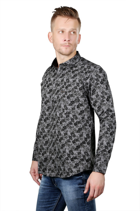 Styrrior 2125 - Regular Fit Printed Grey Black Cotton Shirt