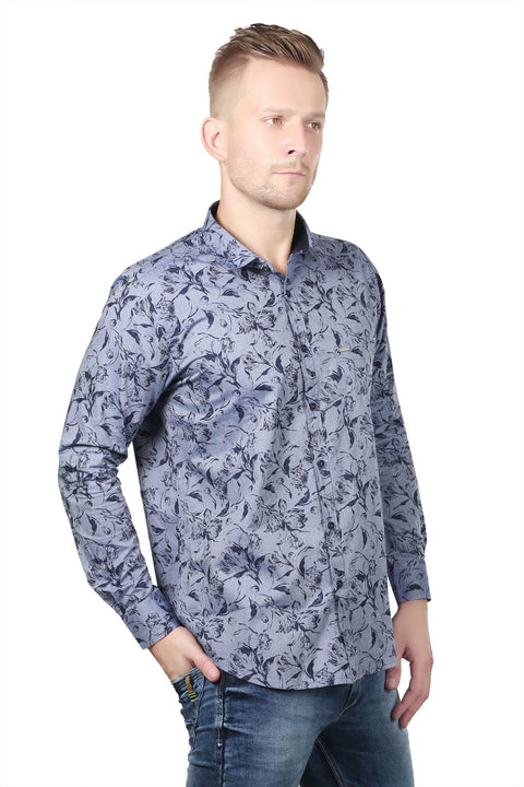 Styrrior 2126 - Regular Fit Leaf Printed Blue Shirt