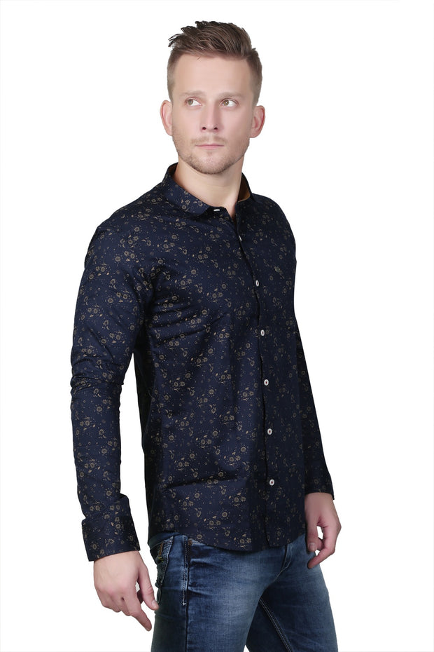Styrrior 2127 - Slim Fit Flower Printed Navy Blue Cotton Shirt