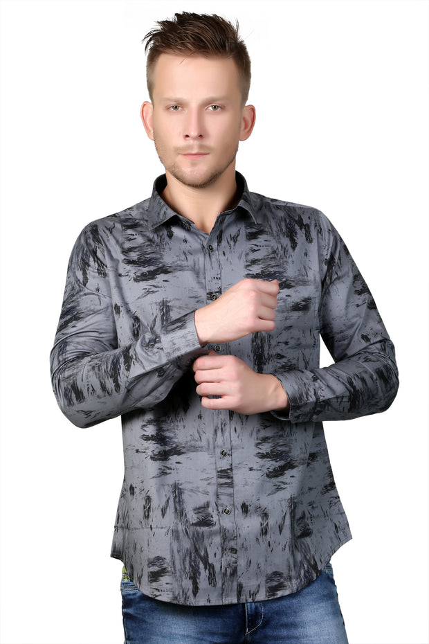 Styrrior 2128 - Regular Fit Abstract Printed Grey Cotton Shirt