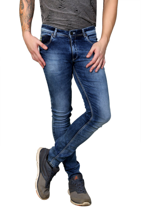 Styrrior 2129 - Skinny Fit Low Rise Mid Blue Washed Knitted Denim
