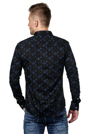 Styrrior 2131 - Slim Fit Flower Printed Black Cotton Shirt