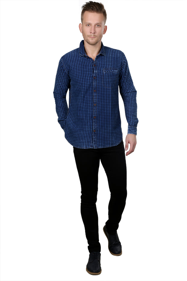 Styrrior 2132 - Indigo Denim Small Checks Washed Dark Blue Full Sleeves Shirt