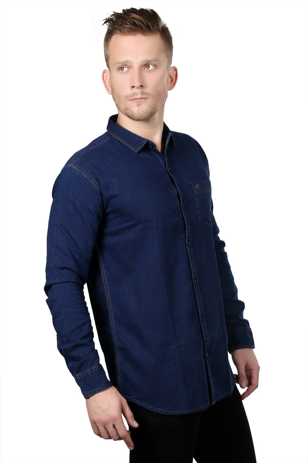 Styrrior 2134 - Slim Fit Indigo Raw Dark Blue Denim Shirt