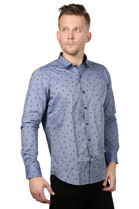 Styrrior 2135 - Regular Fit Small Leaf Printed Blue Shirt