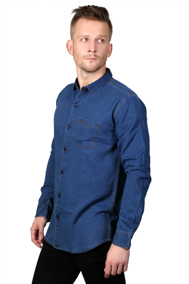 Styrrior 2136 - Slim Fit Indigo Mid Blue Denim Shirt