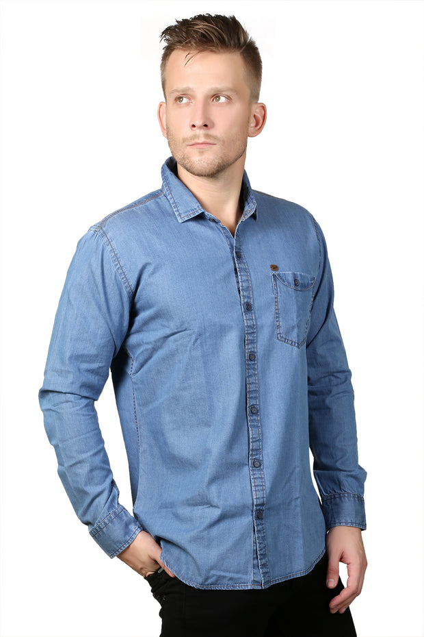 Styrrior 2137 - Slim Fit Silky Mid Blue Denim Shirt