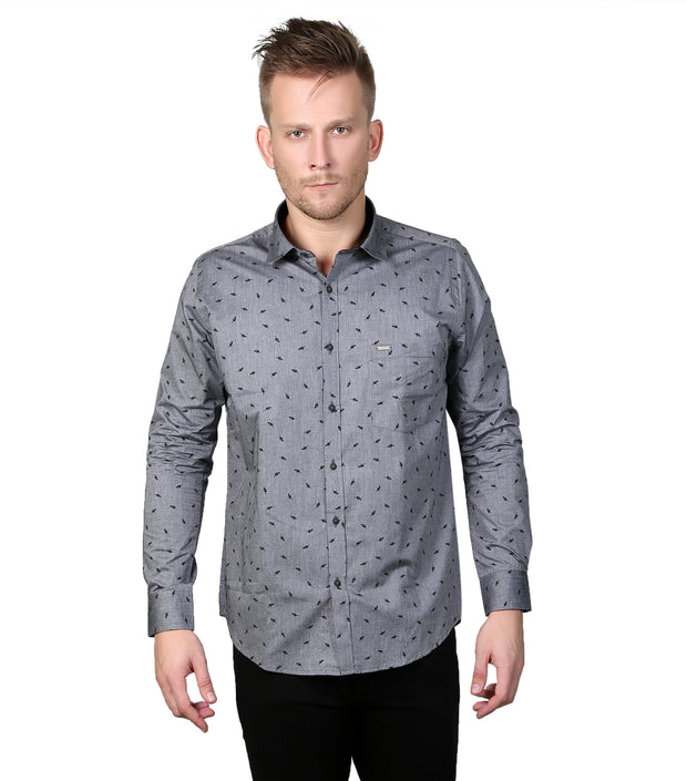 Styrrior 2138 - Regular Fit Small Leaf Printed Grey Shirt