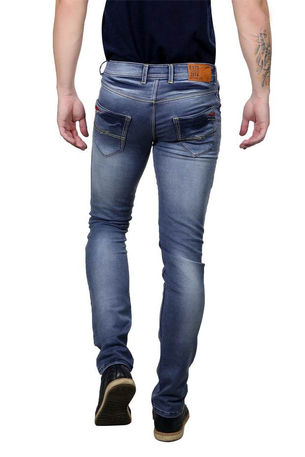 Styrrior 2143 - Slim Fit Steel Blue Knitted Torn Jeans