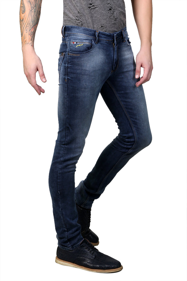 Styrrior 2149 - Slim Fit Mid Rise Knitted Purplish Blue Denim