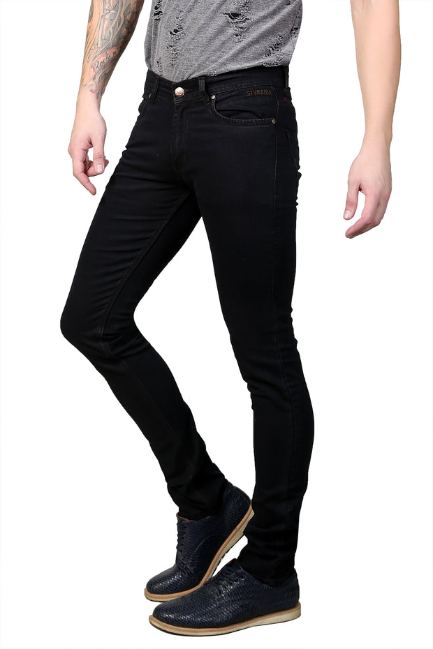 Styrrior 2151 - Slim Narrow Fit Classic Basic Coffee Brown Knitted Denim