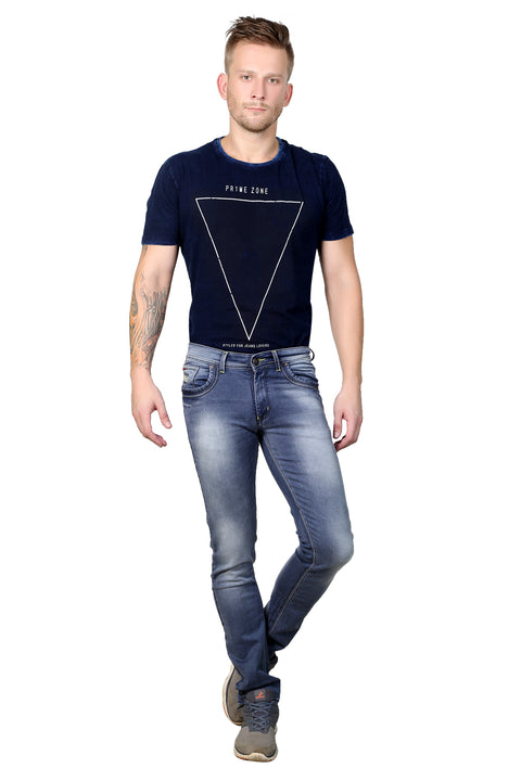 Styrrior 2156 - Slim Fit Steel Blue Knitted Jeans