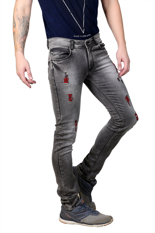 Styrrior 2157 - Slim Fit Smoke Brown Knitted Torn Jeans