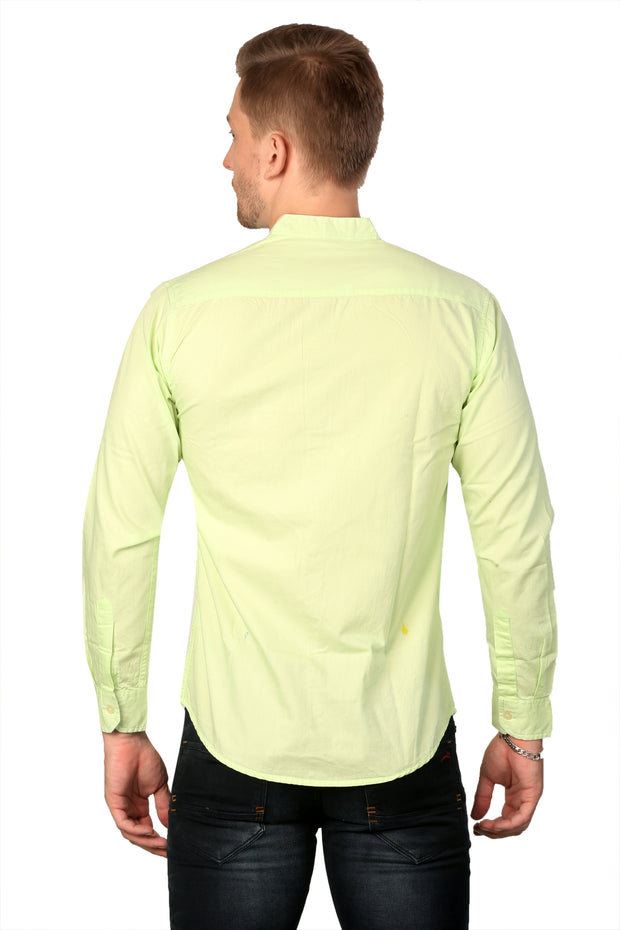 Styrrior 2160 - Slim Fit Pista (Light Green) Mandarin Collar Shirt