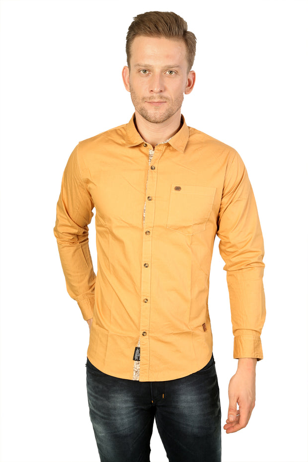 Styrrior 2162 - Men Slim Fit Yellow Solid Cotton Shirt