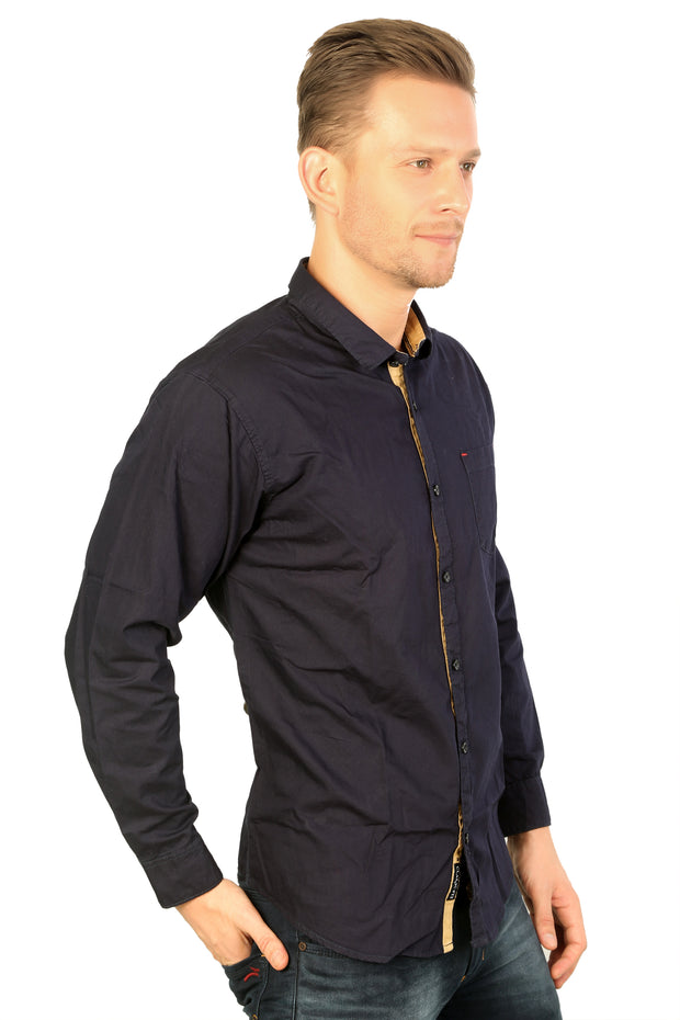 Styrrior 2163 - Slim Fit Navy Blue Solid Cotton Shirt