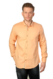 Styrrior 2164 - Slim Fit Self Checks Orange Cotton Shirt