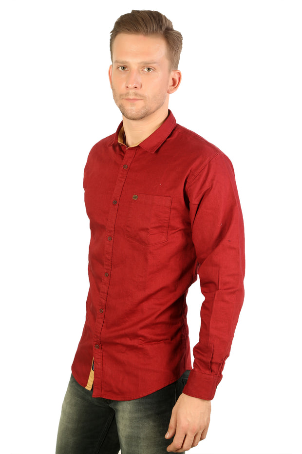 Styrrior 2166 - Slim Fit Self Checks Maroon Red Cotton Shirt