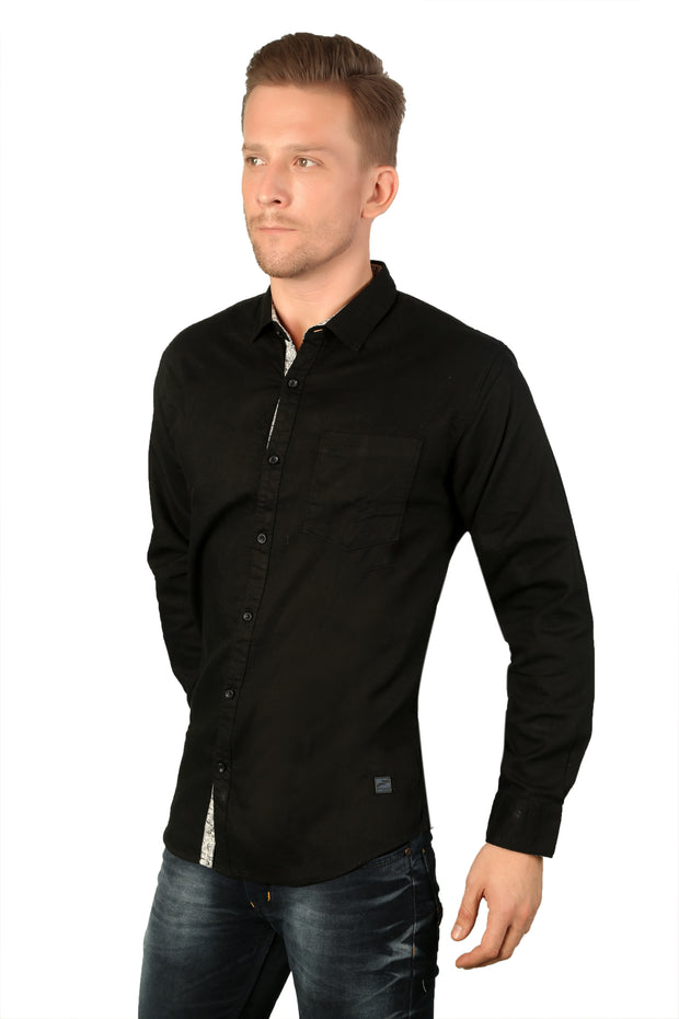 Styrrior 2167 - Slim Fit Self Checks Black Shirt