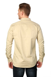 Styrrior 2168 - Slim Fit Plain Cream Cotton Shirt