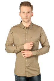 Styrrior 2169 - Slim Fit Plain Brown Cotton Shirt