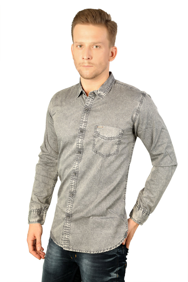 Styrrior 2170 - Slim Fit Grey Washed Cotton Shirt