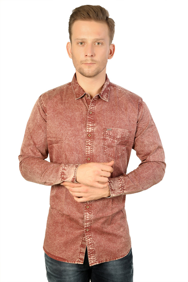 Styrrior 2171 - Slim Fit Maroon Red Washed Cotton Shirt
