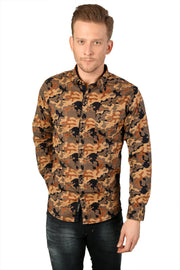 Styrrior 2172 - Slim Fit Orange Blue Camouflage Printed Cotton Shirt