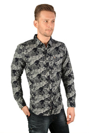 Styrrior 2173 - Slim Fit Grey Blue Camouflage Printed Cotton Shirt