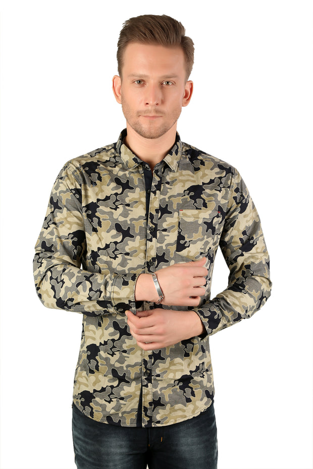 Styrrior 2174 - Slim Fit Army Green & Blue Camouflage Printed Cotton Shirt